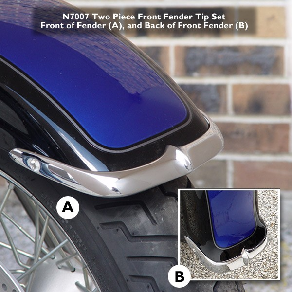 Cast Front Fender Tips; 2-Piece Set for Suzuki® VL800