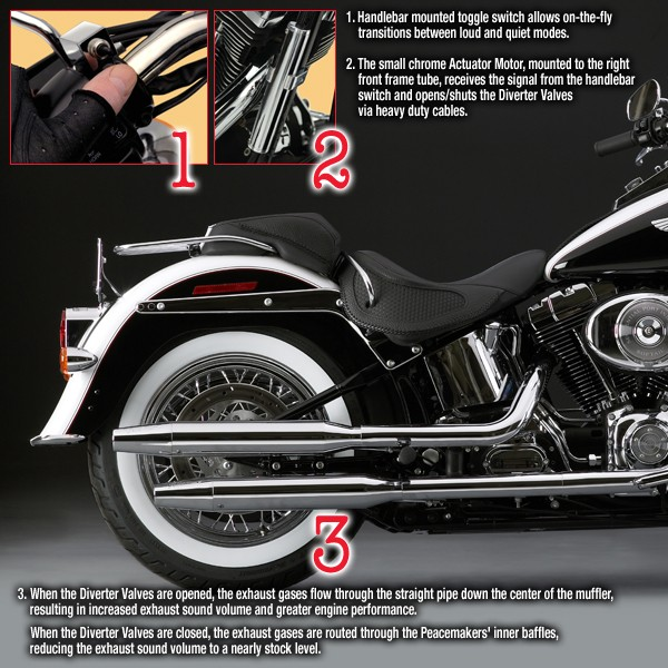 Peacemakers® Volume Control Exhaust Systems for 2006-Earlier FLSTN Softail™ Deluxe